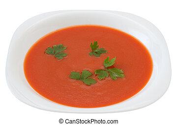 sopa tomate, com, salsa, ligado, a, prato
