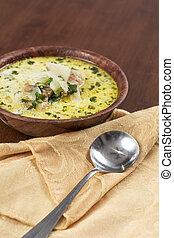sopa, toscana, zuppa, col rizada, embutido