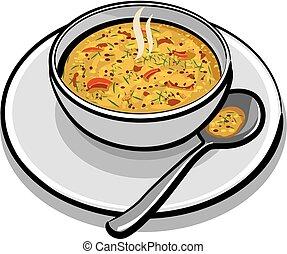 sopa vegetal, caliente