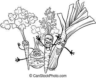 sopa, vegetales, libro colorear, caricatura