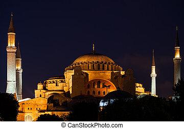 sophia hagia, istanbul, nuit