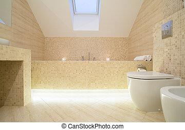 Warm sophisticated bathroom with marble floor
