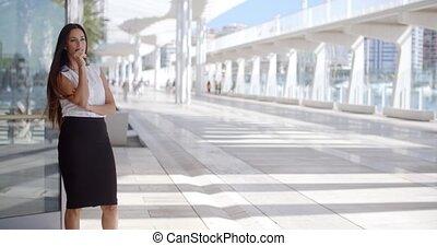 Sophisticated Business Woman on Promenade - Beautiful and...