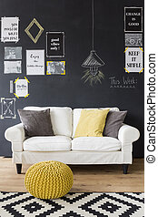 Sophisticated interior with motivational phrases -...