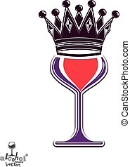 Sophisticated luxury wineglass with king crown, graphic artistic vector goblet. Full glass of red wine vector illustration, eps8.