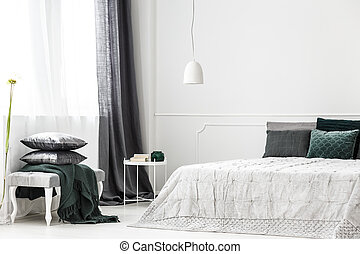 Sophisticated silver bedroom interior