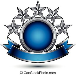 Sophisticated vector emblem with 5 silver glossy stars and...