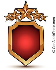 Sophisticated vector emblem with five golden stars, 3d festive design shield element with red filling, clear EPS 8.