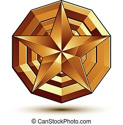 Sophisticated vector golden star emblem, 3d decorative design element, clear EPS 8.