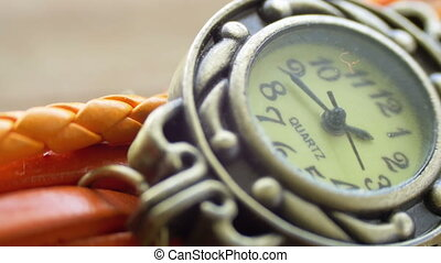 sophistiqué, femmes, montre, vendange, macro., beau