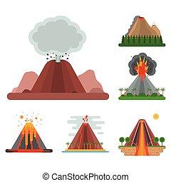sopka, magma, vektor, druh, fučet, up, s, čadit, kráter,...