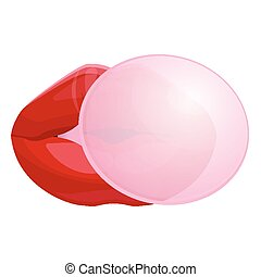soplar, aislado, ilustración, labios, goma, hembra, burbuja, rojo