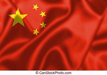 soplar, bandera, china, pueblos, república, viento