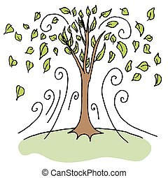 soplar, de, ráfaga, hojas, árboles, día ventoso, hacia ...