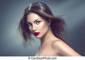 Soplar, largo, pelo, Moda, retrato, modelo, niña