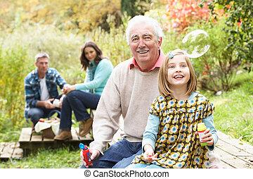 soplar, picnic, familia , nieta, aduelo, burbujas