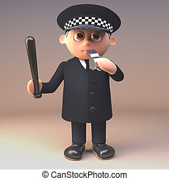 soplar, policía, manejo, policía, ilustración, silbido, ...