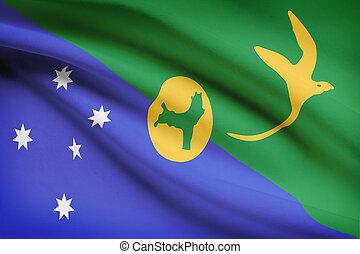 soplar, serie, -, bandera, isla, navidad, viento