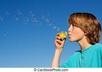 soplar, varita, burbujas, feliz, burbuja, niño