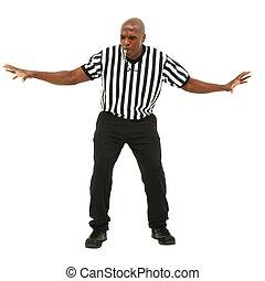 soplar, whistle., ataque, uniforme, entretela, árbitro, ...