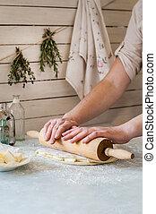 soplo, mujer, masa, pastel, elaboración