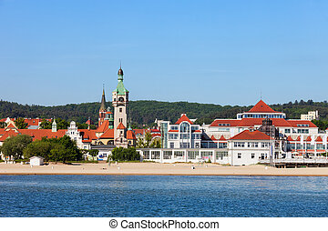 sopot, cidade, mar, e, praia, em, polônia