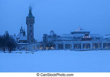 Sopot Lighthouse in winter scenery