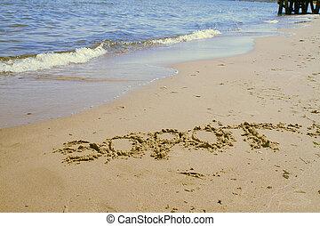 sopot, spiaggia, segno