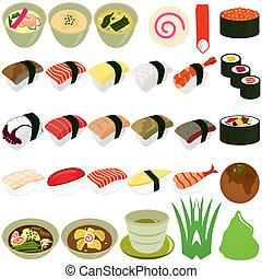 soppa, -, kokkonst, japansk, sushi