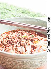 soppa, saftig, matpinnar, kött, nudel