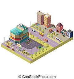 soppingcenter, stadt, isometrisch, zentrieren