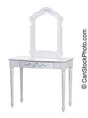 sopra, abbigliamento, elegante, bianco, tavola, percorso