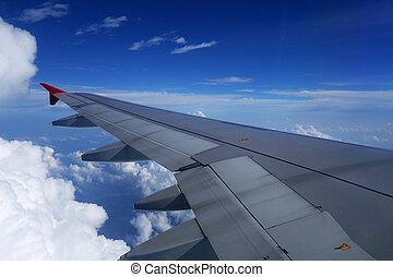 sopra, aereo, ala, vista
