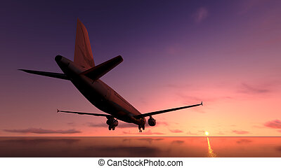 sopra, aereo, ocean.