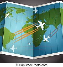 sopra, aeroplani, mondo, volare, mappa