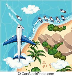 sopra, aeroplano, aereo, scena, mare