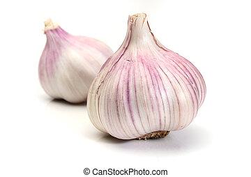 sopra, aglio, sfondo bianco