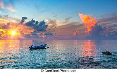 sopra, alba, oceano
