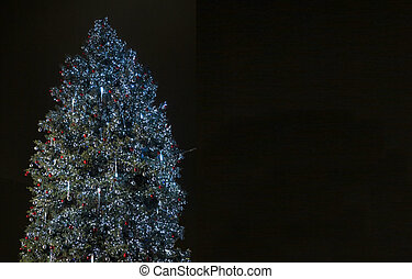 sopra, albero, sfondo nero, anno, nuovo, natale