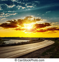 sopra, buono, tramonto, strada asfaltata