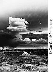 sopra, canyon, tempesta, grande