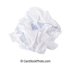 sopra, carta, sbriciolato, sfondo bianco