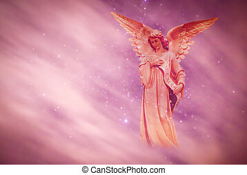 sopra, cielo, angelo, fondo, viola