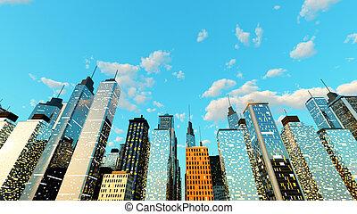 sopra, cielo blu, città, grande
