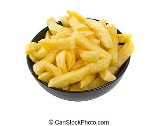 sopra, ciotola, caldo, fondo, bianco, patatine fritte