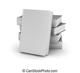 sopra, coperchio, collezione, libro, bianco, vuoto