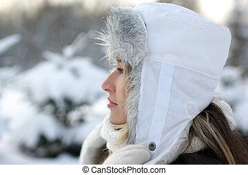 sopra, donna, inverno, fondo