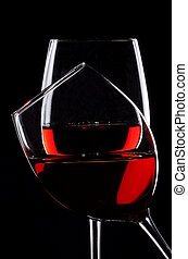 sopra, due, sfondo nero, vino, rosso, occhiali