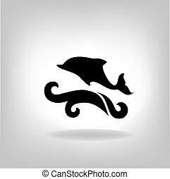 sopra, emblema delfino, mare