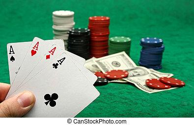 sopra, feltro, quattro, verde, assi, gioco azzardo scheggia